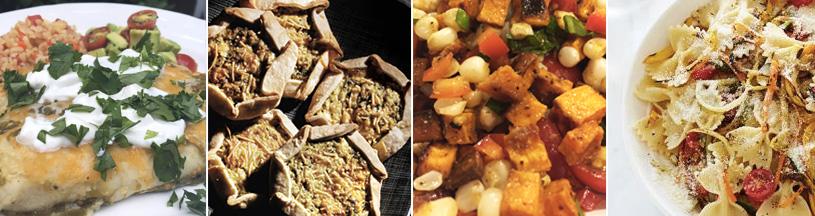 healthy summer dinners: enchiladas, zucchini galettes, sweet potato hash, pasta primavera